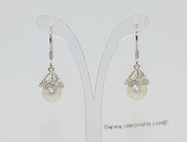 spe612 White Freshwater Round Pearl and Zircon Dangle Earrings