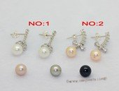spe613 Round Cultured Pearl and Zircon  925Silver Stud Earrings