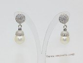 spe615 Round Freshwater Pearl and Zircon 925Silver Stud Earrings