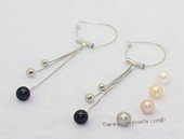 spe617  7-7.5mm white round pearl 925silver dangle hook earrings