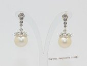 Spe619 Fashion Sterling Silver White Freshwater Pearl Stud Earrings