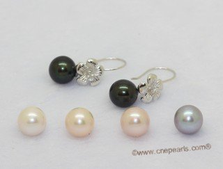 Spe621 Sterling silver flower design earring with freshwater round  pearl