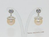spe622 Round Freshwater Pearl and Zircon 925Silver Stud Earrings