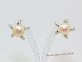 spe623 Starfish Style Zirocn Pave 925silver Earring with Freshwater Pearl