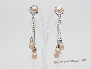 spe624  Sterling silver pink bread pearl earring  dangle with pink rice pearl