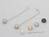 spe626 sterling silver and 9-9.5 bread pearl dangle earrings