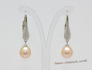 Spe630 Delightful 925Silver Cultured pearl & Zircon Pierce Earrings