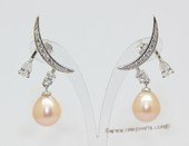 Spe632  Sterling Silver Crescent Moon Style Cultured Pearl and Cubic Zirconia Earrings