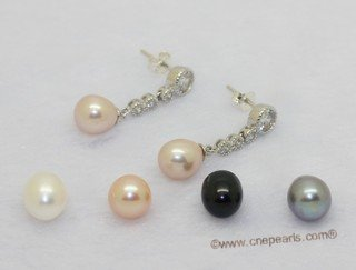 Spe634 925 Sterling Silver Drop Pearl and Zircon Dangle Earrings