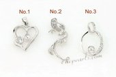spm046 Five pieces 925 sterling silver pearl pendant mountings in wholesale