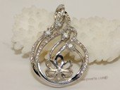 spm224 Cubic Zircon 925 Sterling Silver Calabash Flower Pendant Mounting