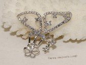 spm227  Sterling silver flying butterfly  pendant mounting with zircon