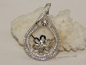 spm236 Cubic Zircon 925 Sterling Silver Calabash Flower  Pendant Mounting