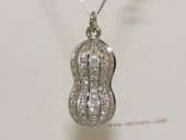 spm240 Sterling Silver Peanut  Shape Pendant with Zircon Pave