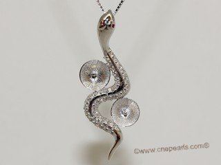 spm244 Sterling Silver Snake Design Pendant Mouting with Zircon Pave