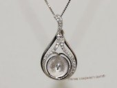 spm245 Sterling Silver Sparkling Zircon Pendant Mounting For Jewelry Marking