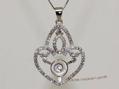 spm246 Sterling Silver Sparkling Zircon Pendant Mounting For Jewelry Marking