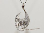 spm247 Sterling Silver Swan Style Pendant Mounting with Zircon Pave