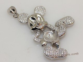 Sterling silver cartoon duck pendant mounting with zircon pave spm251 sterling silver cartoon duck pendant mounting with zircon pave aloadofball Images