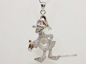 spm252 Sterling Silver Donald & Daisy Duck Pendant Mounting with Zircon Pave