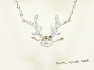 spm298 Sterling Silver Dear antler Pendant Mounting with Sterling Silver Chain