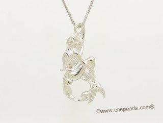 spm302 Sterling Silver Sitting Mermaid Design Pendant Mounting For Jewelry Marking