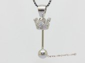 spm307 Sterling Silver Pendant Mounting in Crown Shape For Pendant Marking
