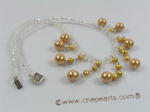 spn016 Champagne shell pearl& crystal single necklace in wholesale
