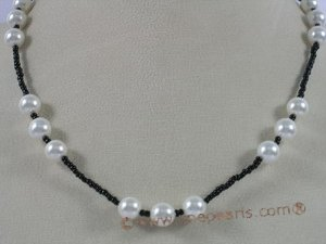 spn018 white shell pearl with glass beads necklace jewelry