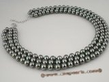 spn029 Wholesale Hand knotted dark green shell pearl necklace in triple strands