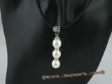 spn035 Fashion Triple round shell pearl pendant leather necklace in white