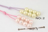Spn037 Fashion 14mm Round shell pearl and cord long lariat necklace
