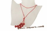 Spn038 Fashion 14mm Red Round shell pearl cord long lariat necklace