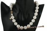 Spn039 16MM One Row White Shell Pearl Choker Necklace