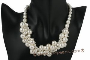 Spn040 18 Inch Shell Pearl Cluster Choker Necklace