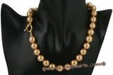 Spn043 Hand knotted champagne Shell Pearl princess necklace