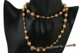 Spn044 Hand wired 28inch gold shell pearl opera necklace