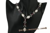 Spn045 Hand wired white shell pearl and crystal Y style necklace