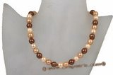 Spn047 Hand knotted Round Shell Pearl princess necklace