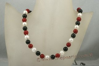 Spn049 Beatiful Hand Knotted 14mm Round Shell Pearl princess necklace