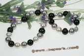 Spn053 Beatiful 14mm black, grey and white shell pearl princess necklace