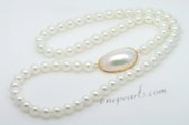 Spn063 Fantastic Hand Knotted 10mm Shell pearl Party Opera Necklace