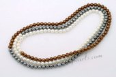 SPN065 Hand Strung Multicolor Round Shell Pearl Rope Necklace