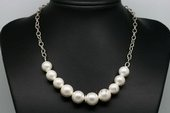 Spn067 Round Shell Pearl Sterling Silver Enclosure Neckace
