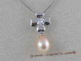spp007 6*8mm tear-drop freshwater pearls sterling silver pendant