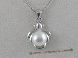 spp009 8-8.5mm white freshwater bread pearls sterling silver pendant