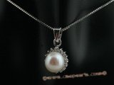 spp014 sterling silver pendant with 8-8.5mm white bread pearls and zircon