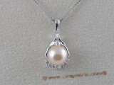 spp016 sterling silver pendant with 7-7.5mm pink bread pearls and zircon