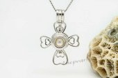 spp019 sterling silver 6-7mm AAA white round pearl cross pendant