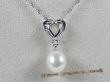 spp028 sterling silver 8-9mm tear-drop freshwater pearl pendant